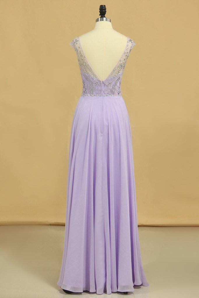2019 Prom Dresses A-Line Scoop Floor-Length Chiffon Beaded Bodice