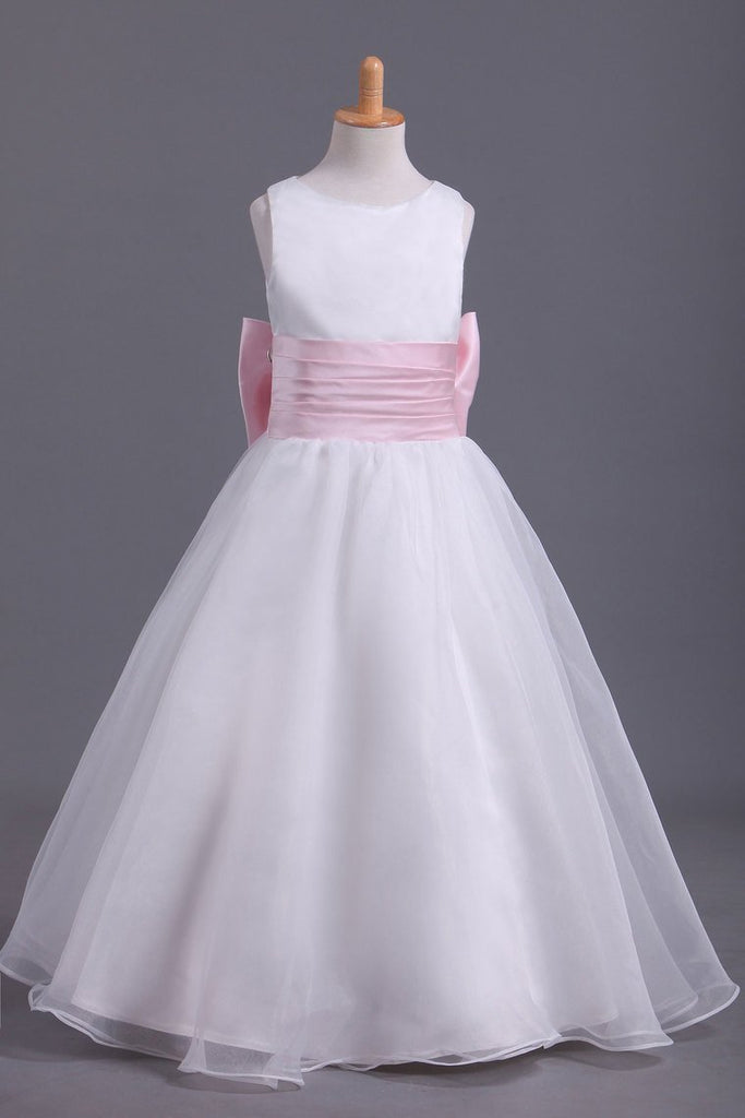 2019 Flower Girl Dresses A-Line Scoop Ankle Length Organza