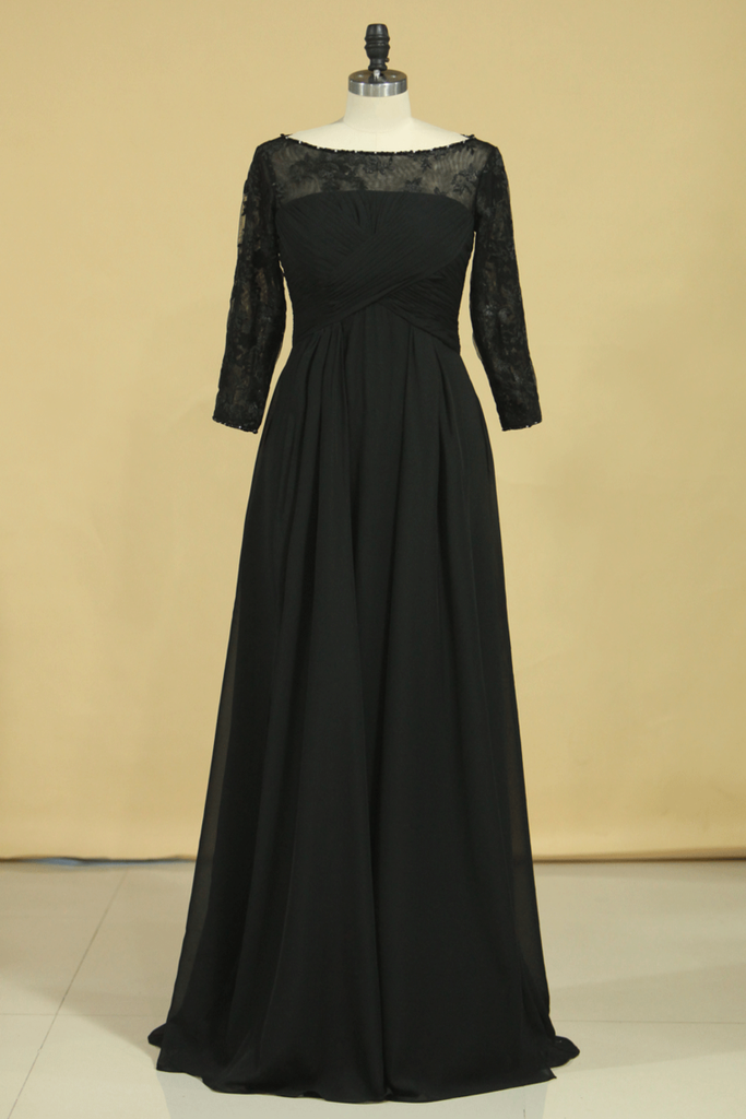 2019 Black Plus Size Mother Of The Bride Dresses Scoop A Line Chiffon With Applique