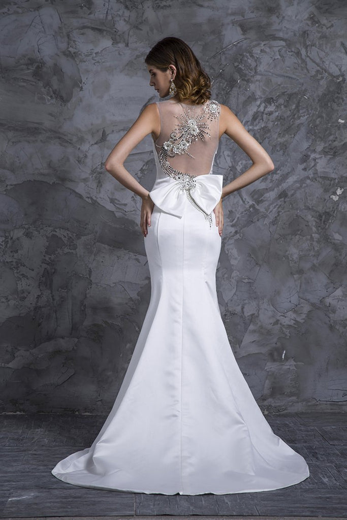 2019 Prom Dresses Mermaid White Satin With Beading