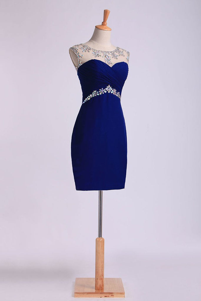 2019 Sexy Sheath/Column Homecoming Dresses Scoop Short/Mini Open Back With