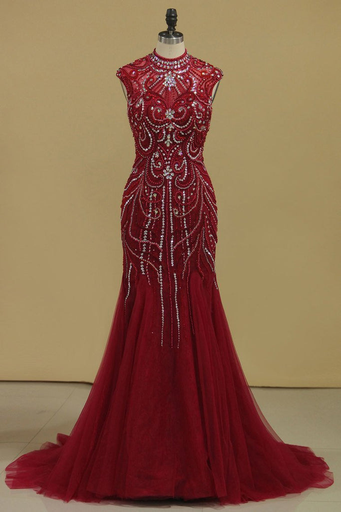 2019 Burgundy Prom Dresses High Neck Mermaid With Beading Sweep Train Tulle&Lace