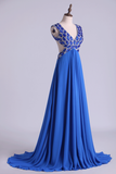 2019 V-Neck Prom Dresses A Line Chiffon With