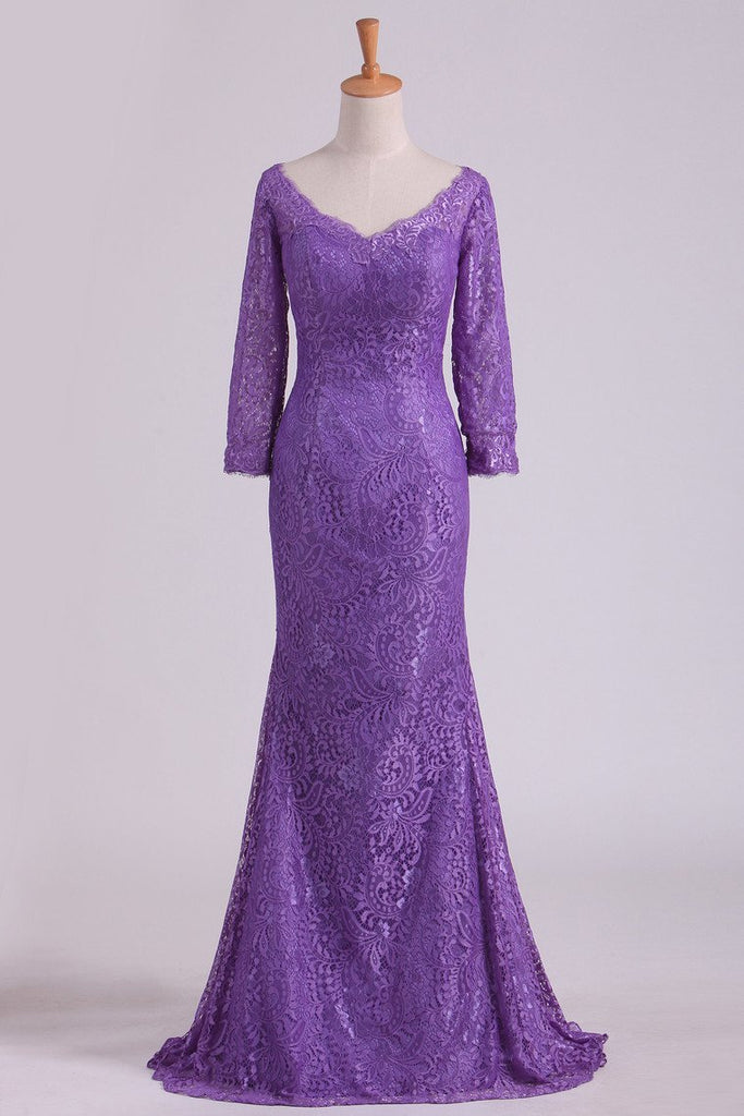 2019 Purple Mother Of The Bride Dresses V Neck 3/4 Length Sleeve Mermaid Lace Floor