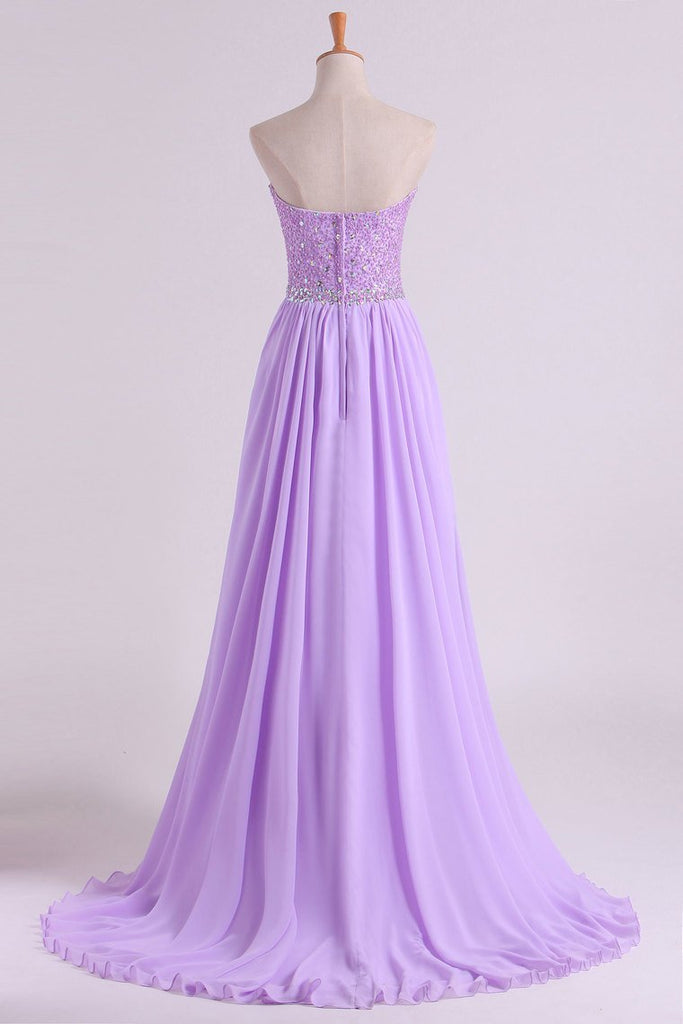 2019 Sweetheart Beaded Bodice Prom Dresses Chiffon With Slit A