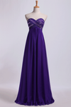 2019 Sweetheart Empire Waist A-Line Prom Dress With Beads Floor-Length