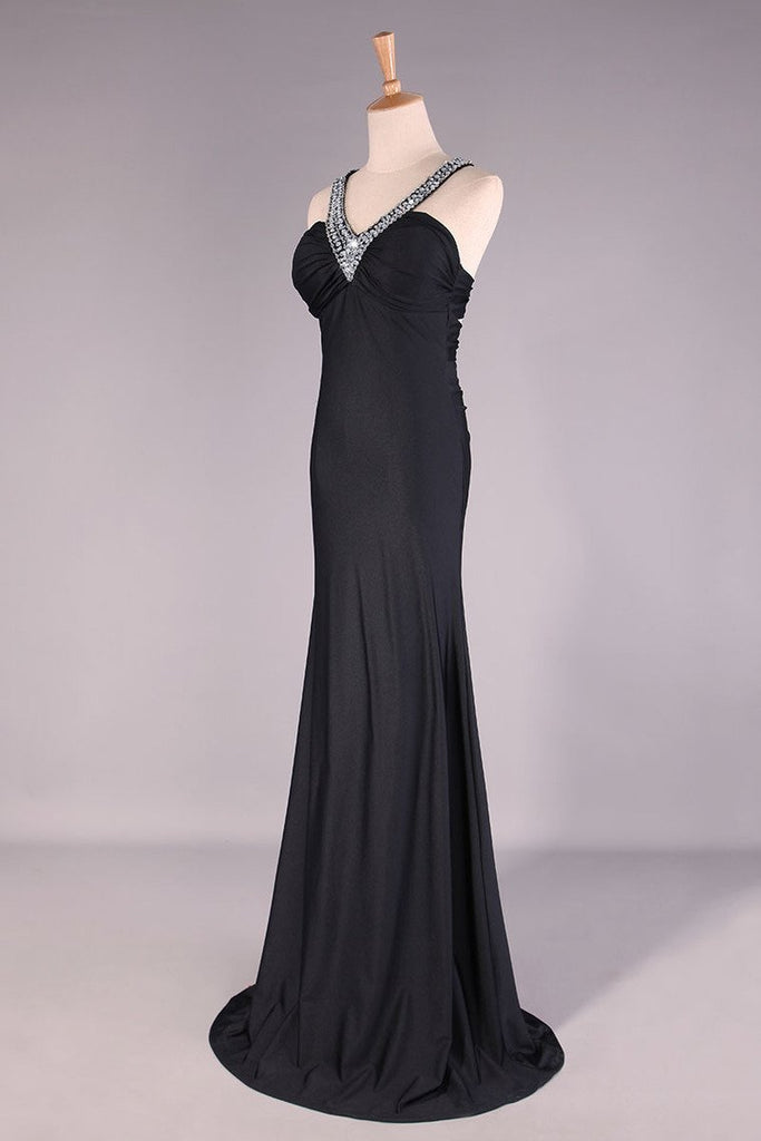 2019 Slim V Neck Prom Dress Sheath Floor Length Open Back Discount Price