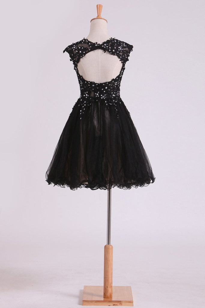 2019 Black Scoop Short/Mini Homecoming Dresses A Line Tulle With Applique And Beading