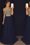 Elegant A Line Halter Dark Blue Beaded Long Chiffon Backless Long Prom Dresses