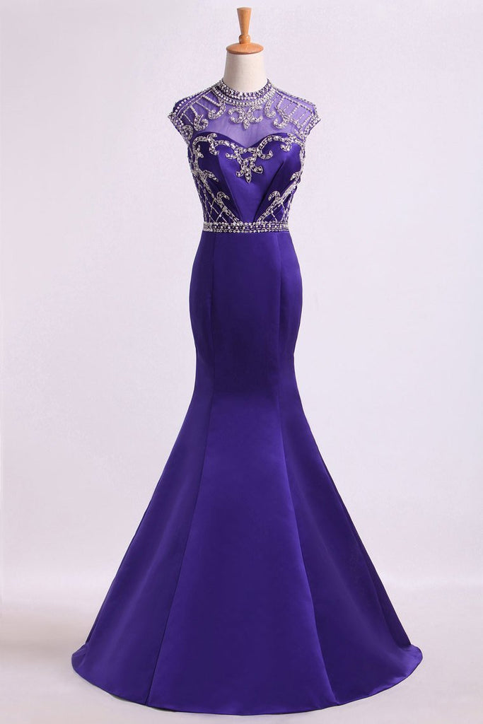 2019 High Neck Mermaid Prom Dresses Beaded Bodice With Ruffles Satin