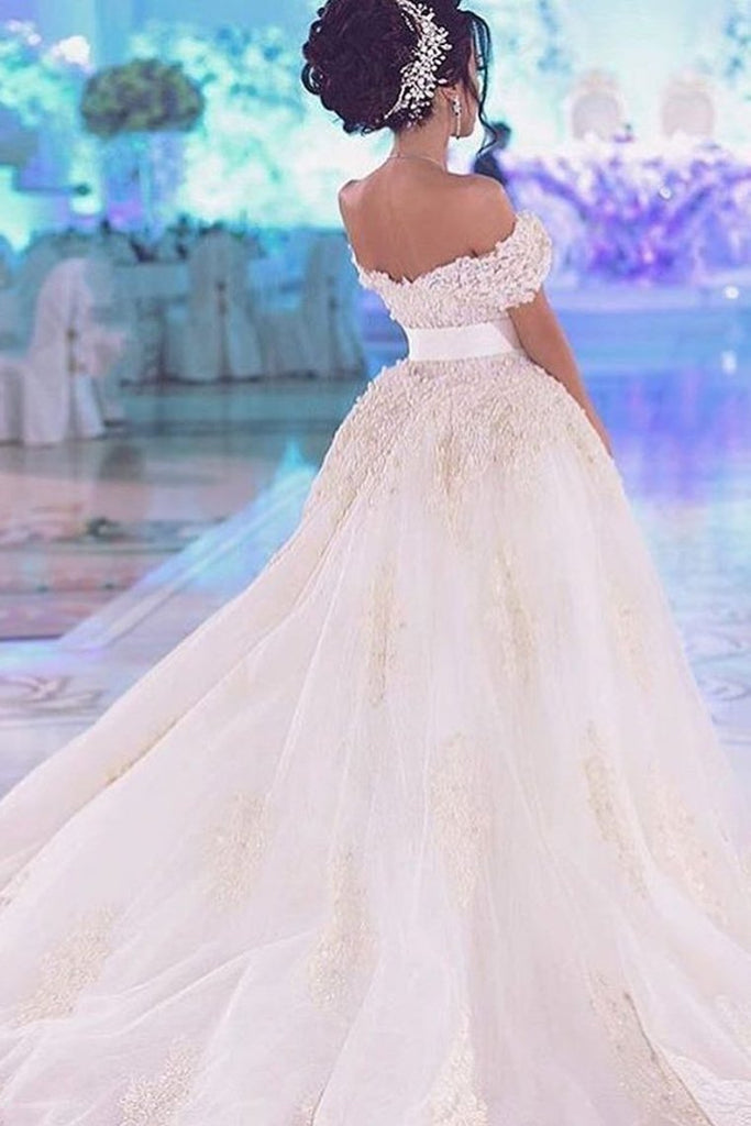2019 Off The Shoulder Wedding Dresses Sheath Tulle With Applique And