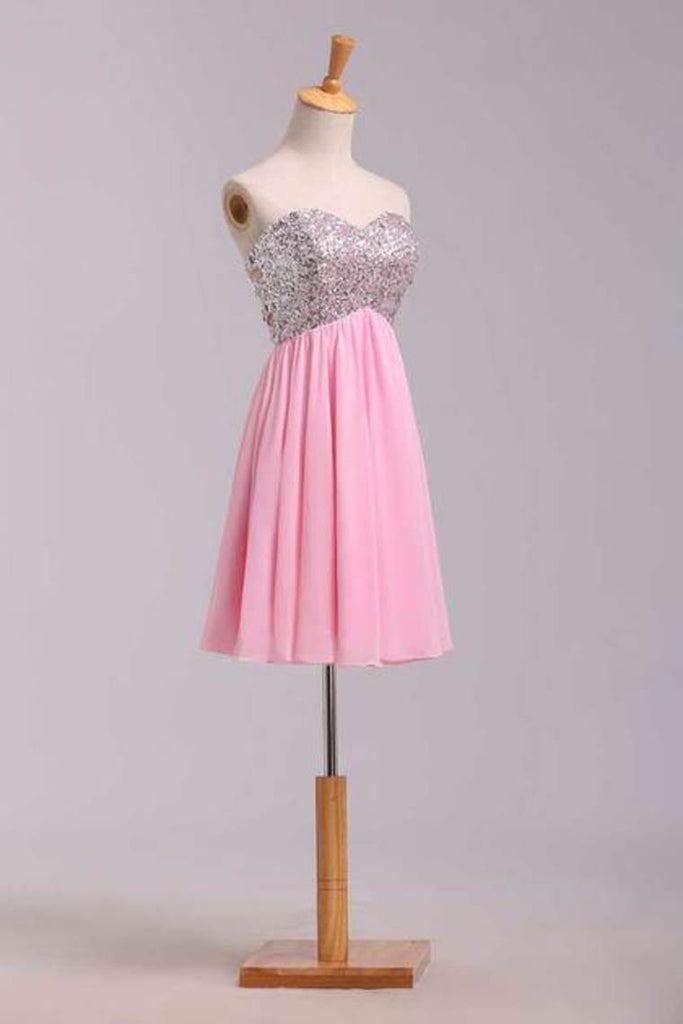 2019 Homecoming Dresses Empire Waist Sweetheart Short/Mini Chiffon With Sequins