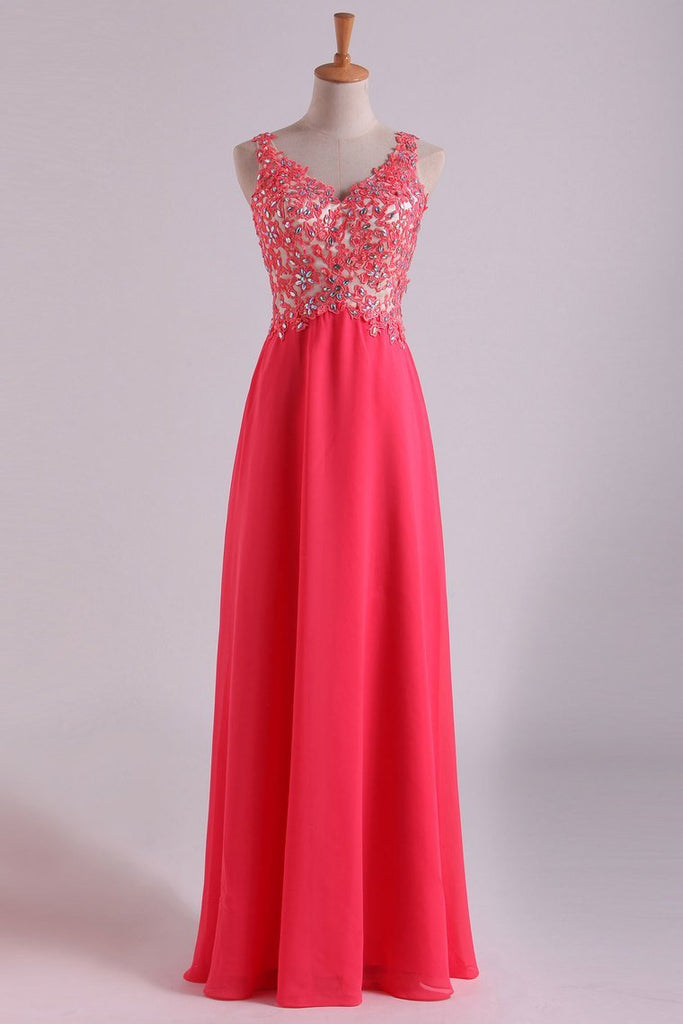 2019 Open Back V Neck Prom Dresses Beaded Bodice Chiffon Floor Length