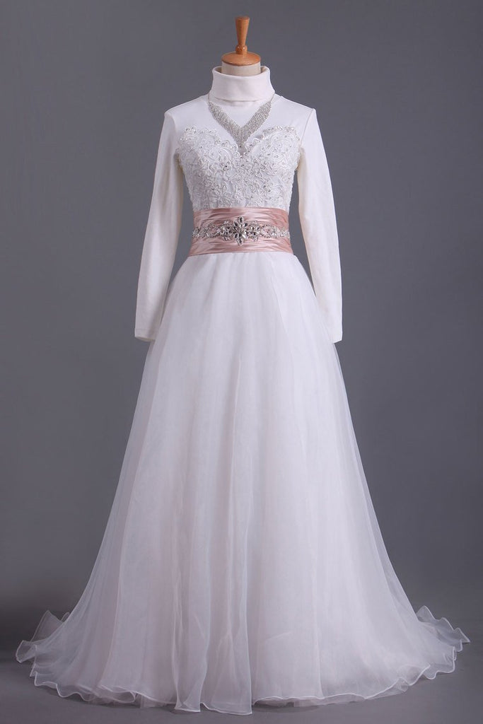 2019 Muslim Wedding Dresses Sweetheart A Line With Applique And Beads Organza