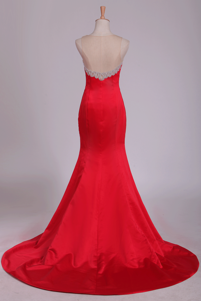 2019 New Arrival Scoop Prom Dresses Mermaid Satin With Beading