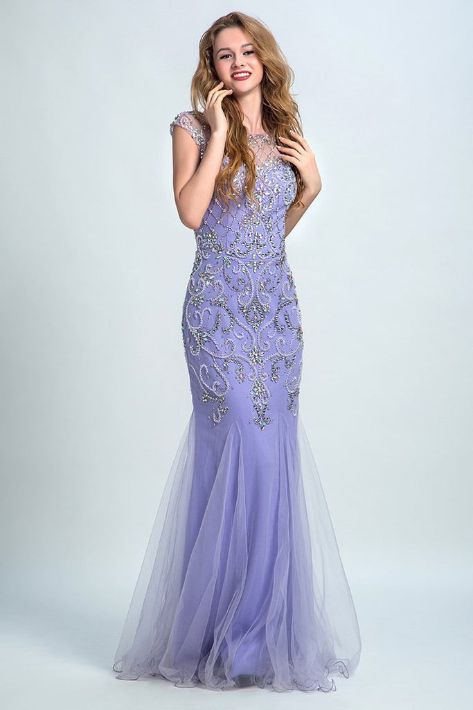 2019 Terrific Scoop Beaded And Fitted Bodice Mermaid Prom Dress