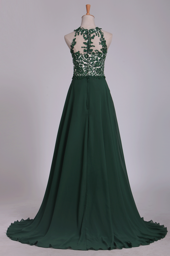 2019 Scoop Chiffon With Applique And Beads Prom Dresses A Line Sweep