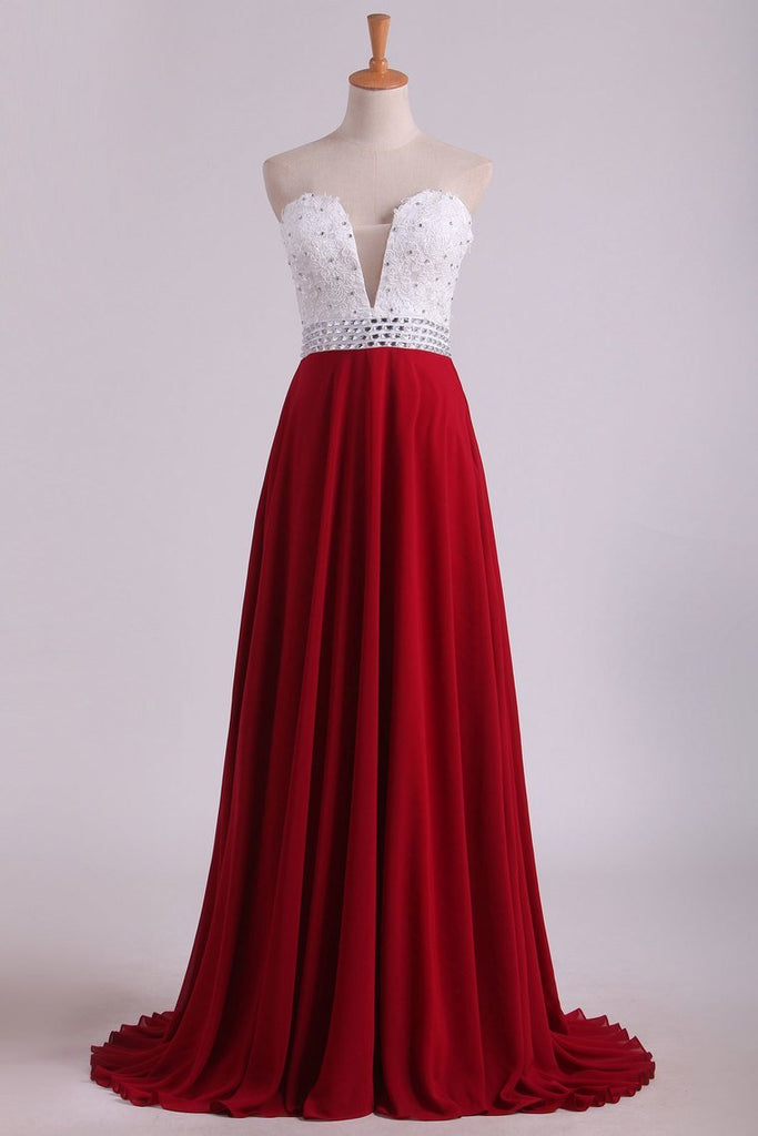 2019 Chiffon With Applique And Beads Prom Dresses Sweetheart A Line