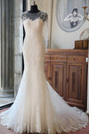 Elegant Mermaid Scoop Neck Tulle Beads Lace Appliques Chapel Train Long Sleeve Wedding Dress