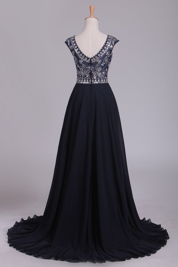 2019 Prom Dresses Scoop Cap Sleeves A Line Chiffon With Beads Sweep Train