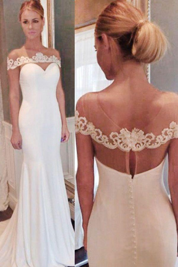 Elegant Off the shoulder Mermaid Long White Wedding Dress with Train