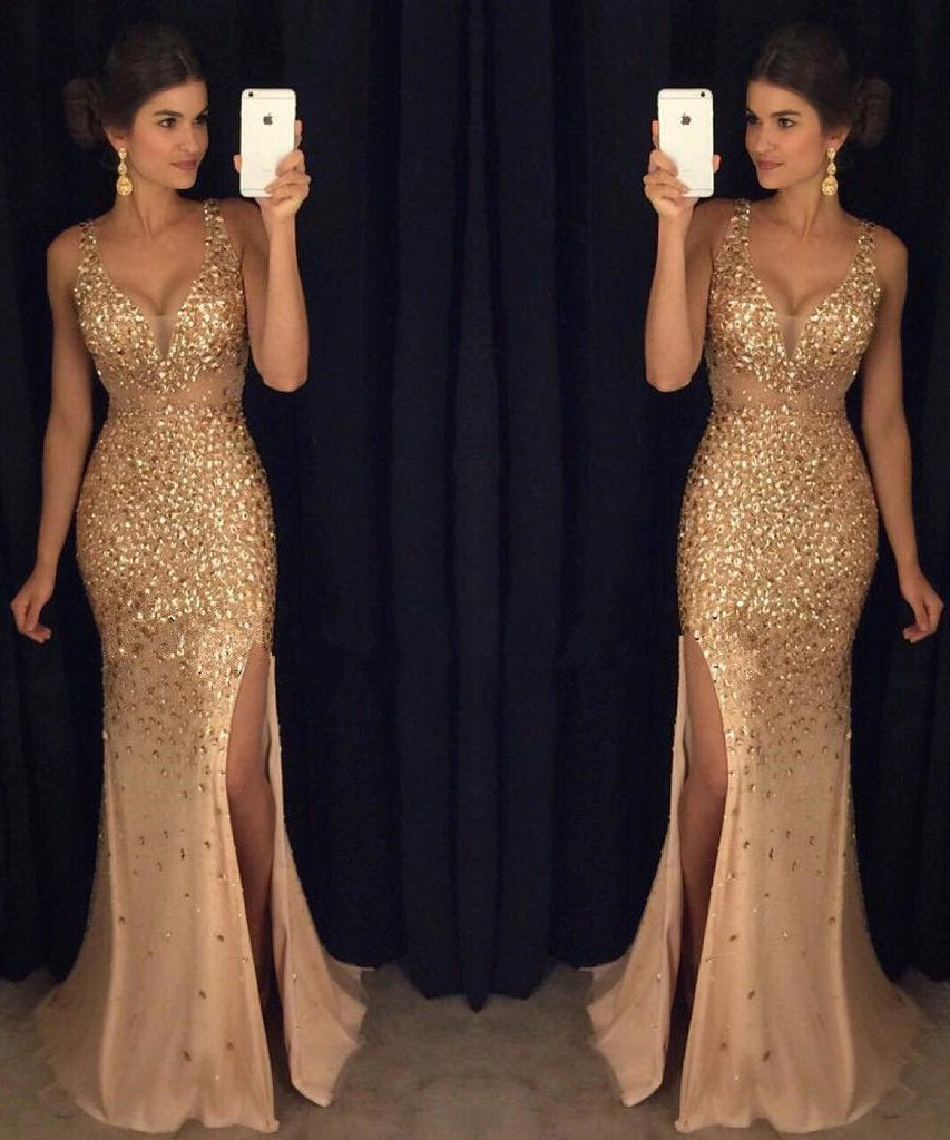 Elegant Gold Mermaid V-Neck Beads Side slit Tulle Long Evening Prom Dresses