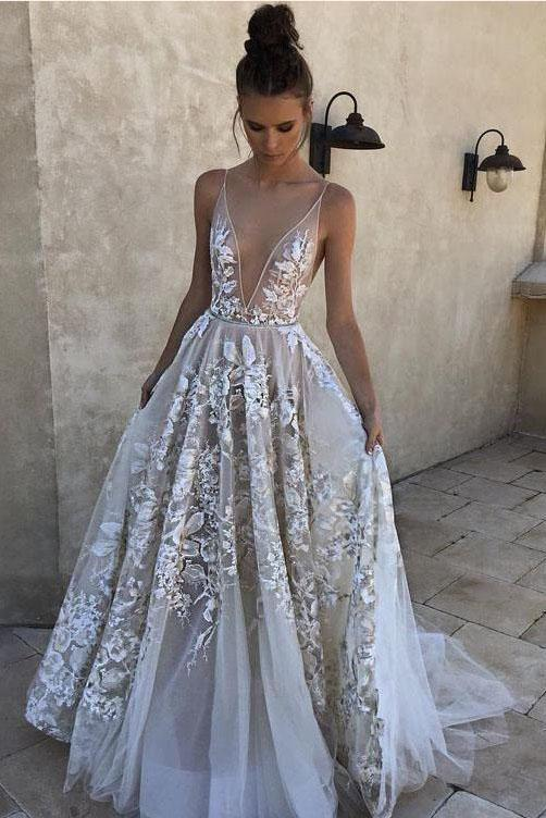 2020 A-Line White Long Tulle Deep V Neck Lace Sleeveless Appliques Prom Dresses