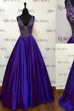 Gorgeous A-line V-neckline Beaded Royal Blue Sleeveless Floor-Length Prom Dresses