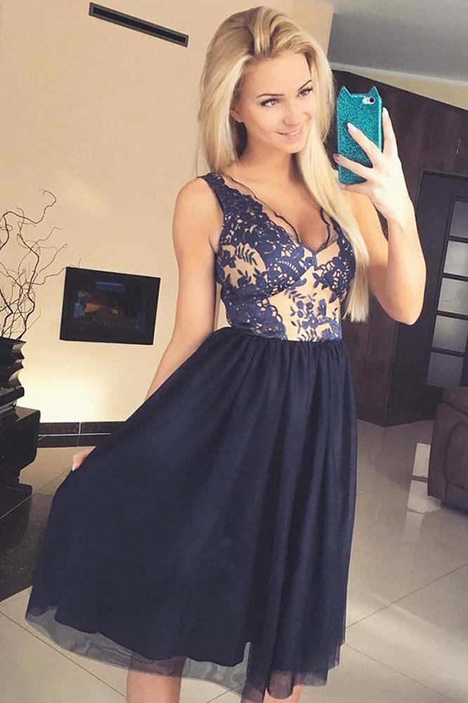 Cute A Line V Neck Open Back Tulle Navy Lace Chiffon Tea Length Short Homecoming Dresses