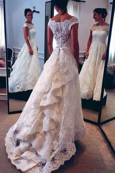 Vintage Lace Ivory Off the Shoulder Layers Skirt A-line Bridal Gowns Wedding Dresses