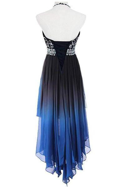 A Line Halter Beaded Blue High Low Chiffon Ombre Lace up Long Prom Dresses