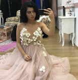 Elegant A-Line Spaghetti Straps Long Pearl Pink Appliques V Neck Backless Prom Dresses
