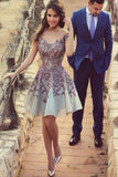 Gorgeous A-Line Short Cap Sleeves Sexy Homecoming Dress with Purple Appliques