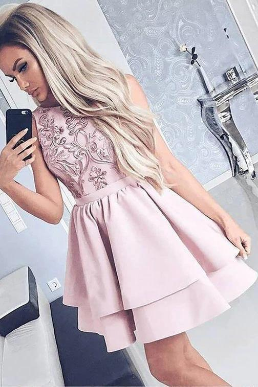 Cute A line Sleeveless Scoop Satin Pink Embroidery Short Homecoming Dresses