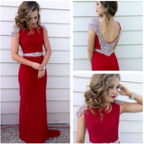 Long Prom Dress Red Prom Dress Party Chiffon Prom Dress Sheath Evening Dress Gown