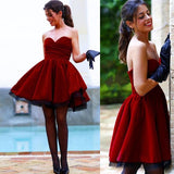 Fabulous Sweetheart Short Burgundy Velet Prom Homecoming Dress Ruched