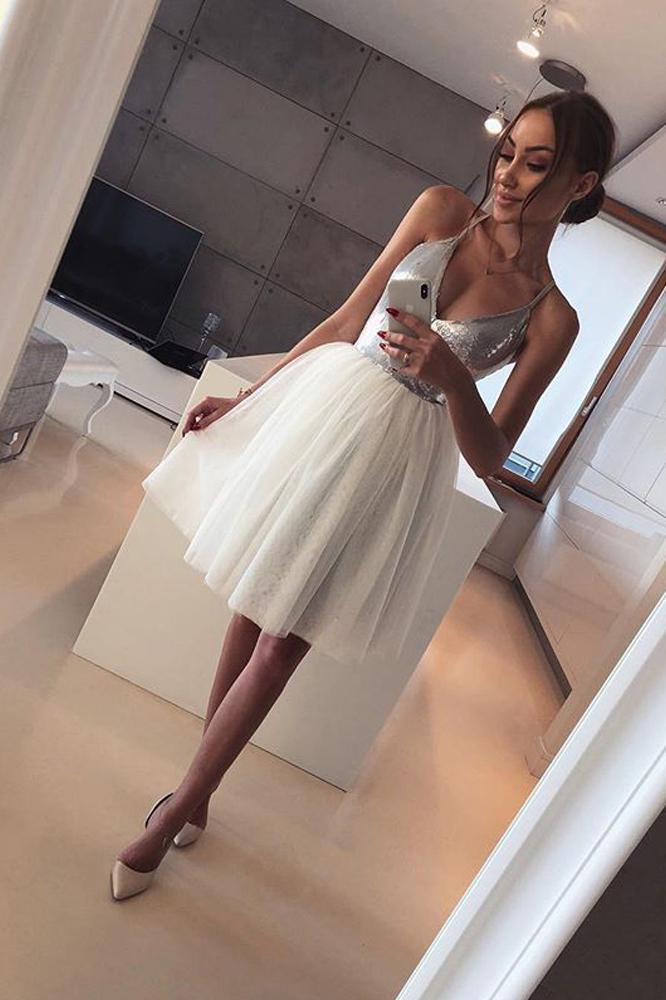 Cute A Line V Neck Spaghetti Straps Tulle Silvery Sequins Short Homecoming Dresses