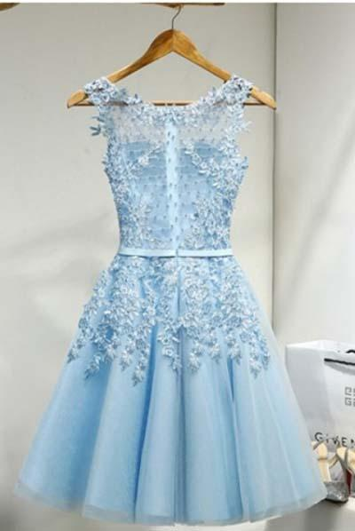 Light Sky Round Neck Tulle Appliques Short Sleeveless Graduation Homecoming Dress
