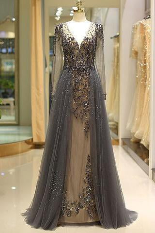 Elegant A Line V Neck Long Sleeves Tulle Grey Prom Dresses with Beading