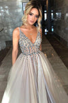 Elegant Gray Modest Beaded A-Line V-Neck Tulle Sweep Train Prom Dresses Evening Dress