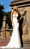 Graceful Mermaid One Shoulder Sweetheart Sleeveless Sexy Long White Satin Prom Dresses
