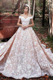 2020 A-Line Off the Shoulder Ball Gown Court Train Tulle Appliques Wedding Dresses