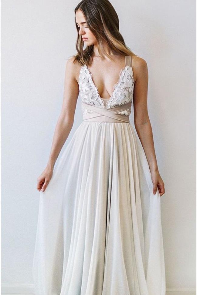 Elegant Fashion A Line V Neck Open Back Chiffon Ivory Lace Long Wedding Dresses