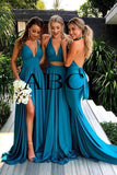 Elegant A Line Mermaid Deep V Neck Long Blue Backless Bridesmaid Dresses