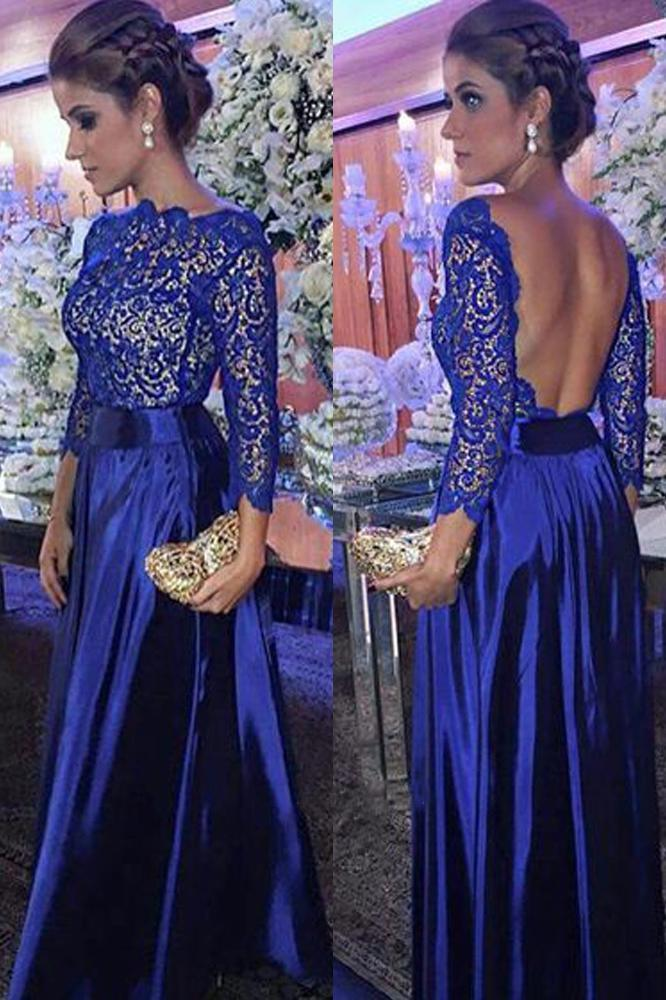 Elegant A Line Round Neck Open Back Long Sleeves Royal Blue Lace Long Prom Dresses