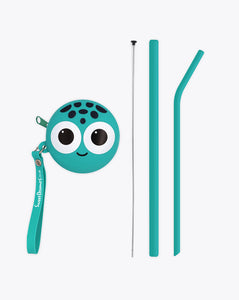 turtle frank |  bendies kids silicone reusable straws | teal