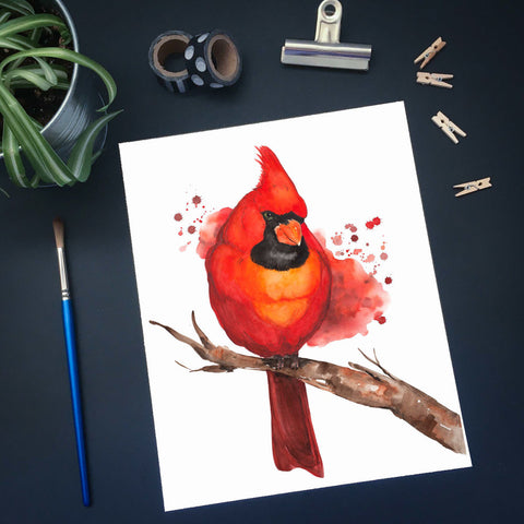 Affiche reproduction aquarelle cardinal