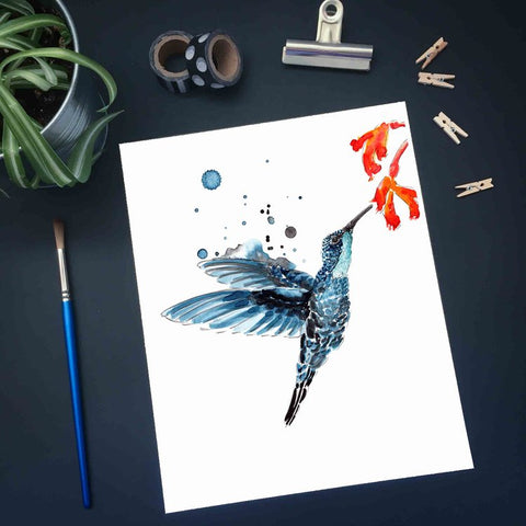 Affiche reproduction aquarelle colibri fleur