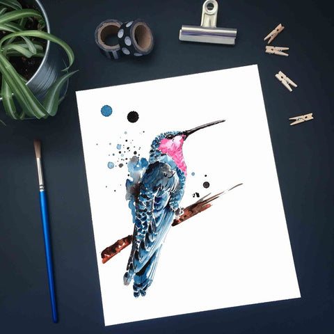 Affiche reproduction aquarelle colibri rose