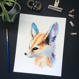 Affiche reproduction aquarelle fennec